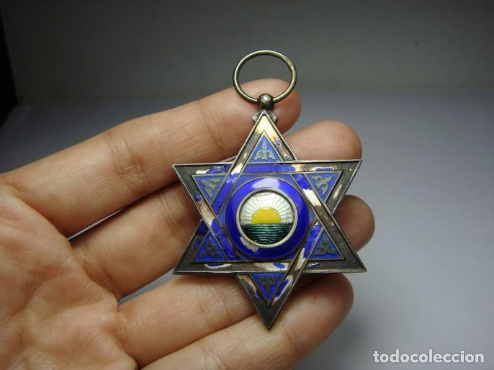 Militaria: Medalla o Cruz de la Orden de Medahuia. Plata (con contrastes). Época de Alfonso XIII - Foto 2 - 190370153