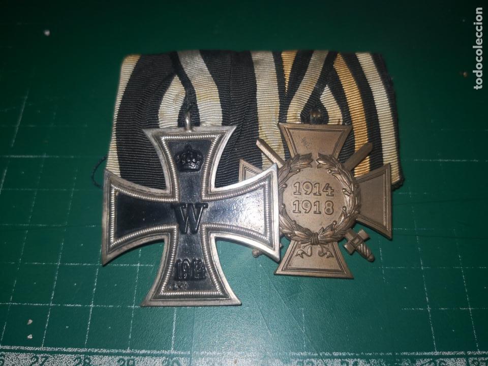 ALEMANIA. I GUERRA MUNDIAL. PASADOR DE GALA CON CRUZ DE HIERRO 2 CLASE Y CRUZ DE COMBATIENTE (Militar - Medallas Extranjeras Originales)