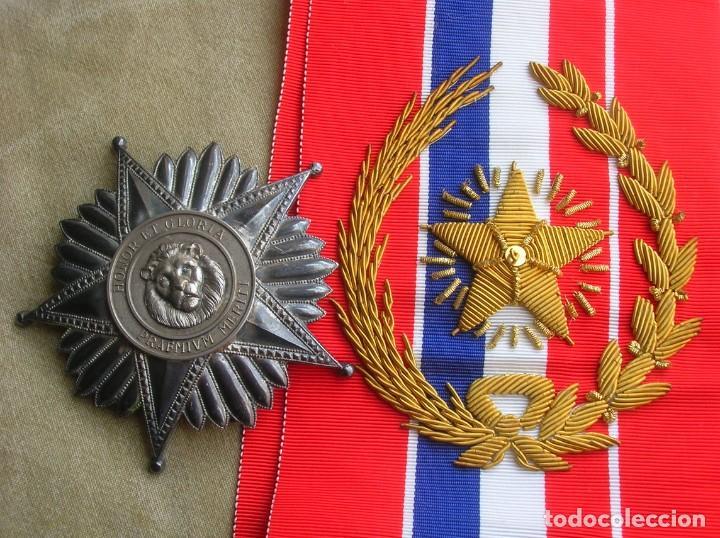 Militaria: ANTIGUA Y ESCASA ORDEN AL MERITO NACIONAL DE PARAGUAY. EXCEPCIONALES PLACA Y BANDA BORDADA. - Foto 12 - 190833642