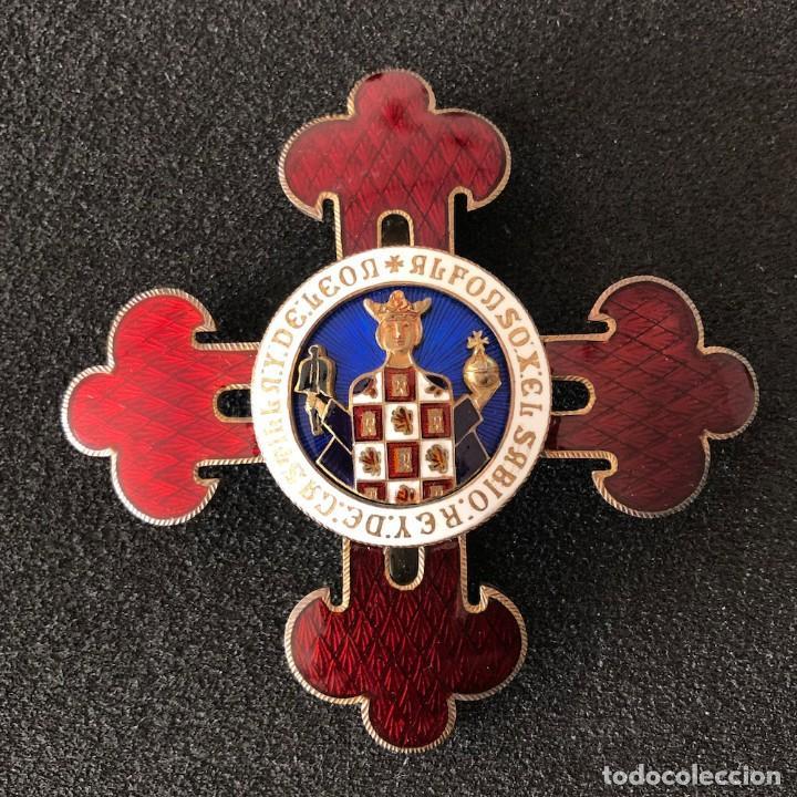 PLACA GRAN CRUZ ALFONSO X EL SABIO, REY DE CASTILLA Y LEÓN. ESMALTADA. (Militar - Medallas Españolas Originales )