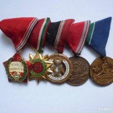 Militaria: HUNGRÍA: PASADOR 5 MEDALLAS - CONDECORACIONES DE UN VETERANO OBRERO HÚNGARO. Lote 191008251