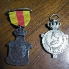Militaria: 2 MEDALLAS: ISABEL II [1860] Y MEDALLA ALFONSO XIII [AÑOS 20]. Lote 191509935