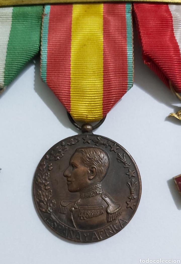 Militaria: PASADOR 3 CONDECORACIONES. ORDEN MEHDAUIA. CRUZ DEL MERITO DIVISION AZUL. ÁFRICA ALFONSO XIII - Foto 4 - 192596437