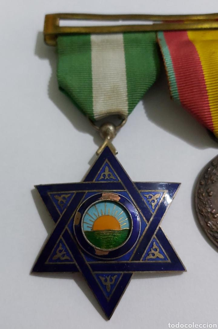 Militaria: PASADOR 3 CONDECORACIONES. ORDEN MEHDAUIA. CRUZ DEL MERITO DIVISION AZUL. ÁFRICA ALFONSO XIII - Foto 5 - 192596437