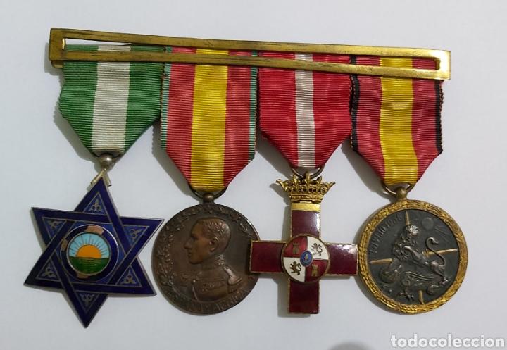 PASADOR 3 CONDECORACIONES. ORDEN MEHDAUIA. CRUZ DEL MERITO DIVISION AZUL. ÁFRICA ALFONSO XIII (Militar - Medallas Españolas Originales )