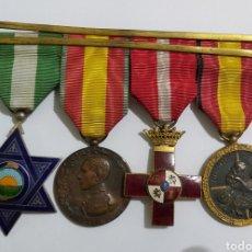 Militaria: PASADOR 3 CONDECORACIONES. ORDEN MEHDAUIA. CRUZ DEL MERITO DIVISION AZUL. ÁFRICA ALFONSO XIII. Lote 192596437