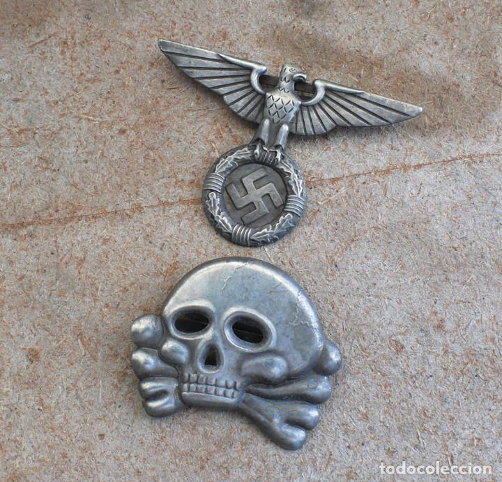 Militaria: WW2 ÁGUILA Y DEL CALAVERA danziger totenkopf SS1923. PARA GORRA DE PLATO - Foto 6 - 206160862