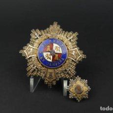 Militaria: ANTIGUA MEDALLA AL MERITO EN CAMPAÑA DE PLATA CON SU MINIATURA. Lote 193959485
