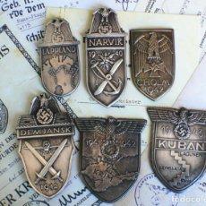 Militaria: LOTE. 6 INSIGNIAS ESCUDOS DE BATALLA TERCER REICH. NAZI. Lote 226988701