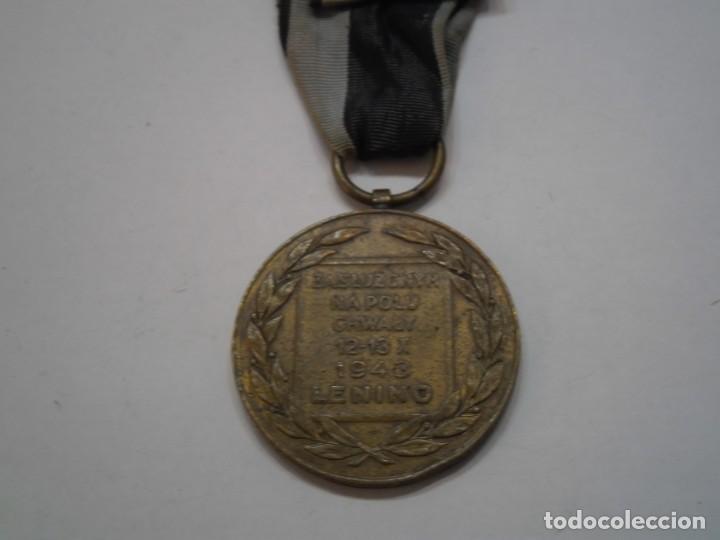 Militaria: Polonia-Medalla Bronce al Merito en el Campo de la Gloria-1 modelo con su cinta-rarisima pieza - Foto 4 - 194144812