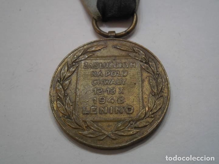 POLONIA-MEDALLA BRONCE AL MERITO EN EL CAMPO DE LA GLORIA-1 MODELO CON SU CINTA-RARISIMA PIEZA (Militar - Medallas Extranjeras Originales)
