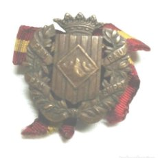 Militaria: INSIGNIA O MEDALLA OJAL SOMATENS DE CATALUÑA, PAU SEMPRE PAU, CASTELLS BCN BRONCE. MED. 2,5 X 2,5 CM. Lote 194408256