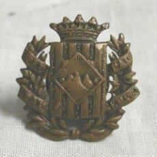 Militaria: INSIGNIA O MEDALLA OJAL SOMATENS DE CATALUÑA, PAU SEMPRE PAU, DE BRONCE. MED. 2,5 X 2,5 CM. Lote 194408355