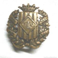 Militaria: INSIGNIA O MEDALLA OJAL SOMATENS DE CATALUÑA, PAU SEMPRE PAU, CASTELLS BCN BRONCE. MED. 2,5 X 2,5 CM. Lote 194408400
