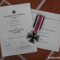 Militaria: MEDALLA ALEMANA II SEGUNDA GUERRA MUNDIAL CRUZ DE HIERRO II CLASE CON DIPLOMA TODO 100% ORIGINAL. Lote 194511846