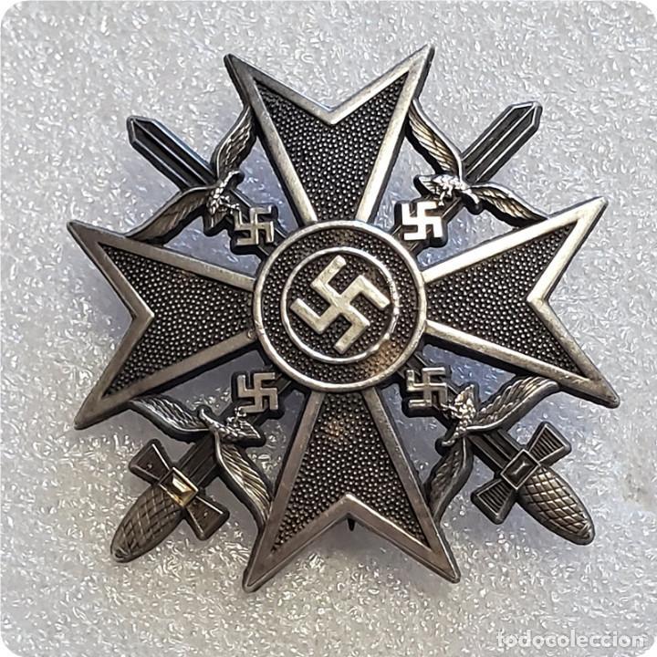 INSIGNIA MEDALLA PLACA SPANIENKREUZ.CRUZ ESPAÑOLA ESPADAS.LEGION CONDOR GUERRA CIVIL NAZI EMBLEMA (Militar - Reproducciones y Réplicas de Medallas )