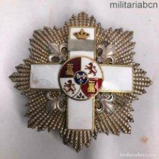 Militaria: PLACA DE LA ORDEN AL MÉRITO MILITAR DISTINTIVO BLANCO. PERÍODO ALFONSO XIII. FABRICADA POR J. MEDINA. Lote 195214372
