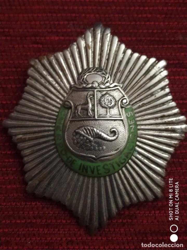 INSIGNIA DISTINTIVO PLACA MUY ANTIGUA DE POLICIA DEL PERU. HOMOLOGA CUERPO SEGURIDAD ESPAÑA ALFONSO (Militar - Medallas Españolas Originales )