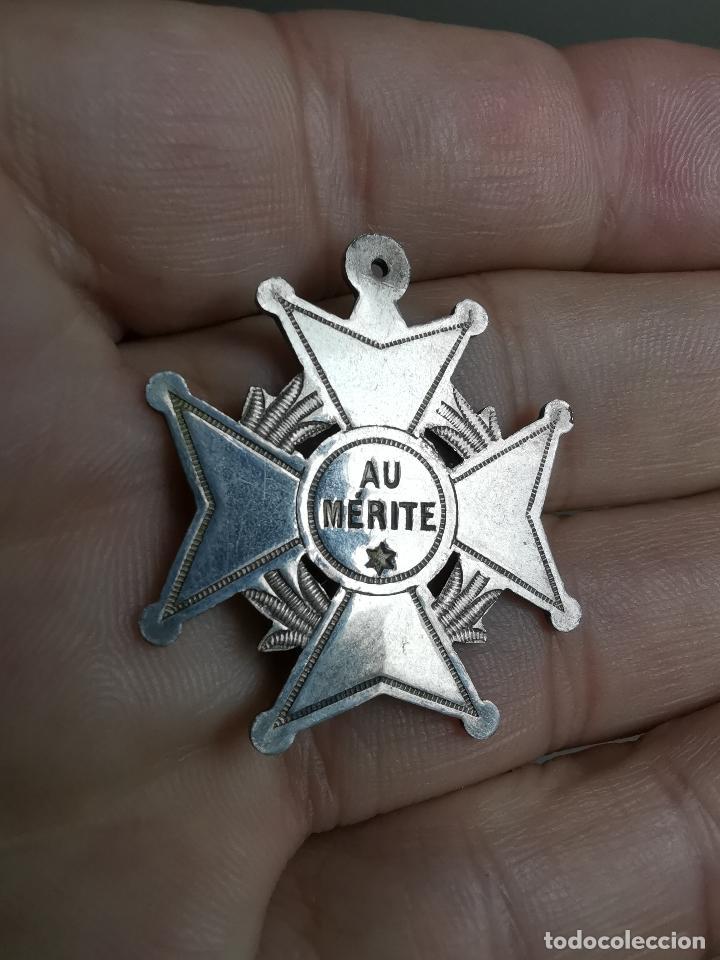 MEDALLA AL MERITO - AU MERITE ESCOLAR APLICACION CIRCA 1900 FRANCIA-BELGICA- CATEGORIA PLATA (Militar - Medallas Extranjeras Originales)