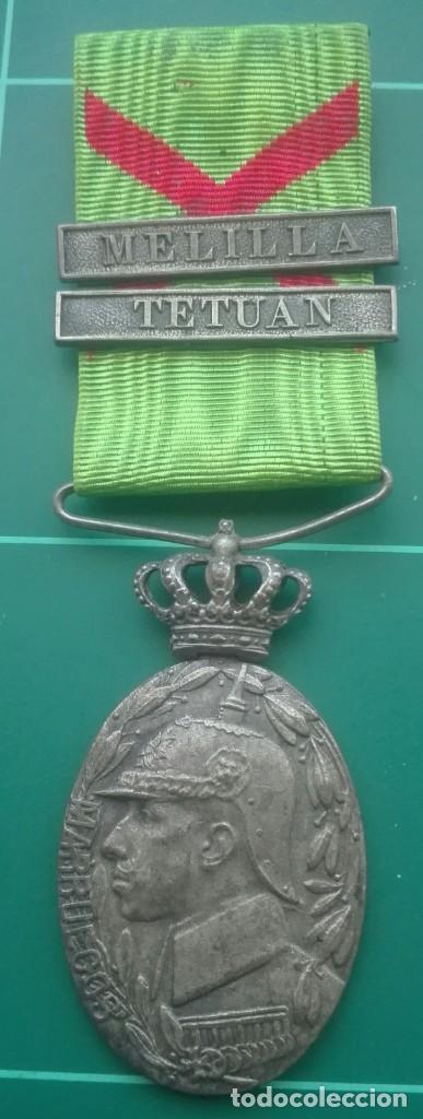 MEDALLA DE CAMPAÑA DE MARRUECOS. MELILLA Y TETUÁN (Militar - Medallas Españolas Originales )