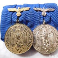 Militaria: PASADOR DE MEDALLAS 4 Y 12 AÑOS DE SERVICIO EN LA WEHRMACHT WW2 ORIGINAL III REICH. Lote 197635953