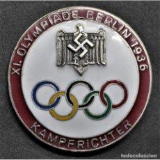 Militaria: INSIGNIA PIN PARA JUECES JUEGOS OLÍMPICOS DE BERLÍN 1936 ALEMANIA PARTIDO NAZI TERCER REICH NSDAP. Lote 197770740