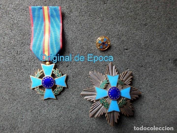 (JX-200381)MEDALLA , PLACA Y PIN DEL FOMENTO EUROPEO , CINTA ESPAÑA . (Militar - Medallas Españolas Originales )