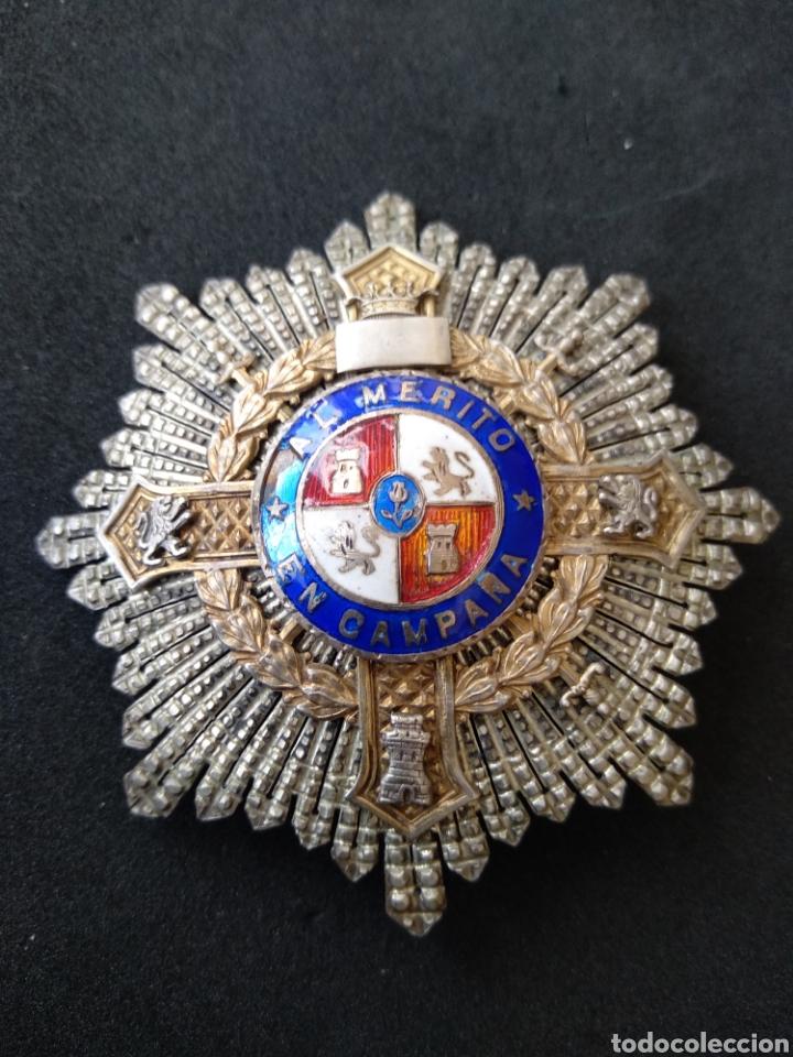 PLACA DE PLATA Y ESMALTES AL MÉRITO MILITAR (Militar - Medallas Españolas Originales )