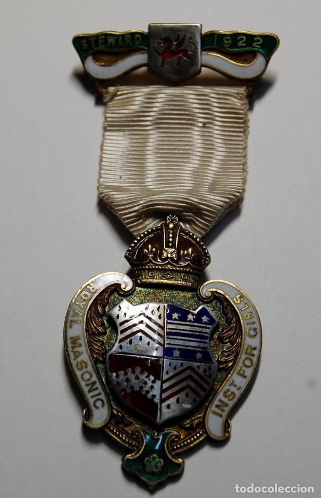 MEDALLA MASONICA INGLESA DE PLATA MACIZA Y ESMALTES DE 1922.EXTRAORDINARIO ESTADO DE CONSERVACION. (Militar - Medallas Internacionales Originales)