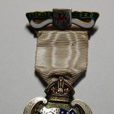 Militaria: MEDALLA MASONICA INGLESA DE PLATA MACIZA Y ESMALTES DE 1922.EXTRAORDINARIO ESTADO DE CONSERVACION.. Lote 200138193