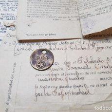 Militaria: CHAPA MILITAR Y DOCUMENTOS ACREDITATIVOS DE LA MISMA RARA 1944. Lote 203182852