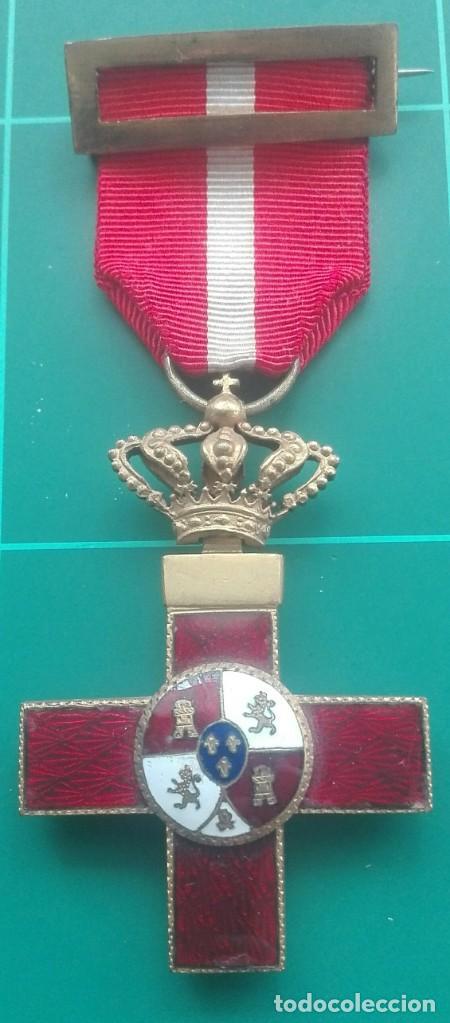 CRUZ MÉRITO MILITAR DISTINTIVO ROJO. ALFONSO XIII (Militar - Medallas Españolas Originales )