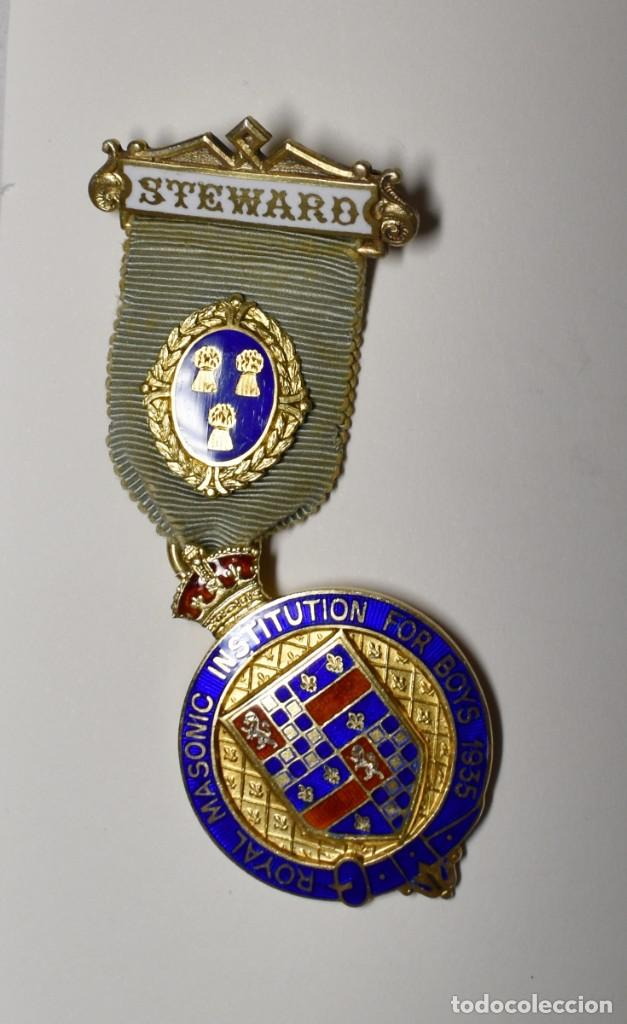 MEDALLA MASONICA INGLESA PLATA MACIZA.FUNDACION STEWARD PARA CHICOS DE 1935.EXTRAORDINARIO ESTADO (Militar - Medallas Internacionales Originales)
