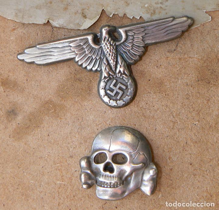 Militaria: LOT.WW2 ÁGUILA Y DEL CALAVERA TOTENKOPF SS1923-1934. PARA GORRA DE PLATO - Foto 4 - 206160375