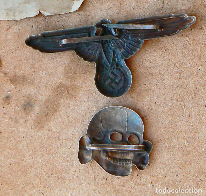 Militaria: LOT.WW2 ÁGUILA Y DEL CALAVERA TOTENKOPF SS1923-1934. PARA GORRA DE PLATO - Foto 6 - 206160375