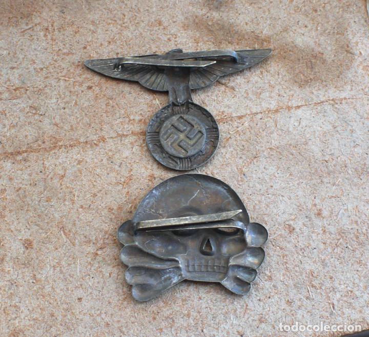 Militaria: LOT.WW2 ÁGUILA Y DEL CALAVERA TOTENKOPF SS1923-1934. PARA GORRA DE PLATO - Foto 7 - 206160375