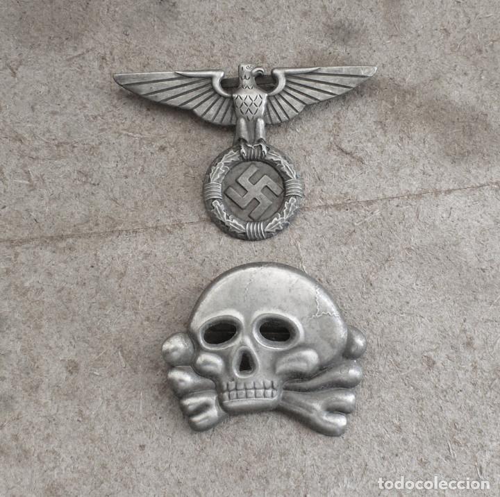 Militaria: LOT.WW2 ÁGUILA Y DEL CALAVERA TOTENKOPF SS1923-1934. PARA GORRA DE PLATO - Foto 9 - 206160375