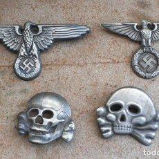 Militaria: LOT.WW2 ÁGUILA Y DEL CALAVERA TOTENKOPF SS1923-1934. PARA GORRA DE PLATO. Lote 206160375