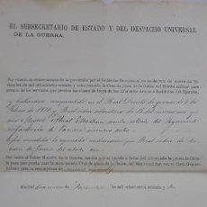 Militaria: OTORGAMIENTO CRUZ DE PLATA DE LA ORDEN DEL MERITO MILITAR 1868,SERVICIOS ESPECIALES 1862. Lote 206377797