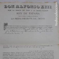 Militaria: NOMBRAMIENTO CABALLERO DE LA ORDEN MILITAR DE SAN HERMENEGILDO 1888,CAPITAN MIGUEL ABRIAT MARTINEZ. Lote 206380665