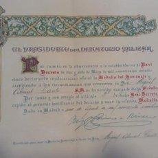 Militaria: NOMBRAMIENTO MEDALLA DEL HOMENAJE MIGUEL ABRIAT CANTO 1925. Lote 206382076
