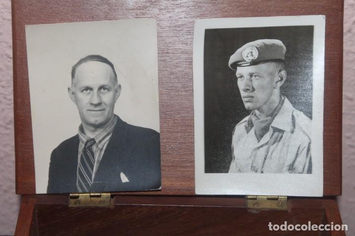 Militaria: lote de una caja unef danor-bn gaza con 2 fotos 1 medalla 1 placa 1 caja de cerilla de piel - Foto 4 - 206479361