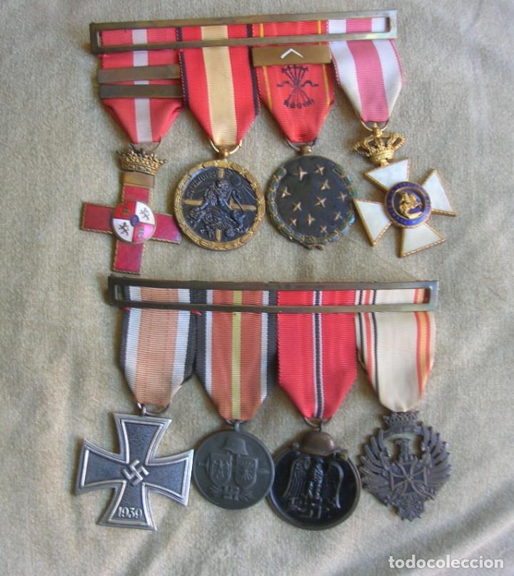 PASADORES ORIGINALES DE UN DIVISIONARIO. DIVISION ESPAÑOLA DE VOLUNTARIOS. DIVISION AZUL. (Militar - Medallas Españolas Originales )