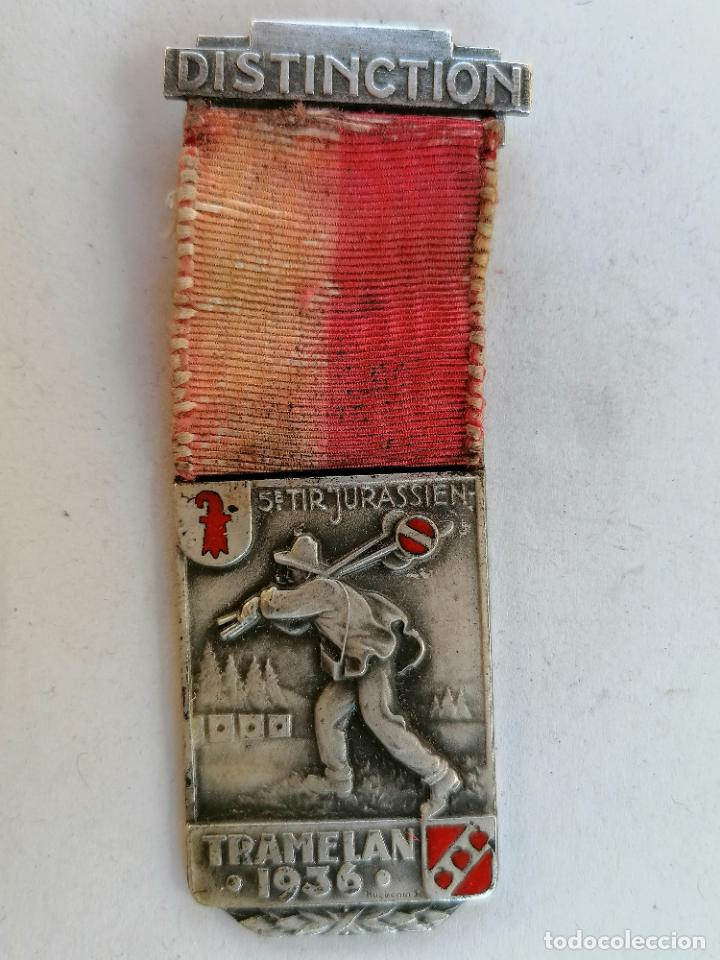 MEDALLA SUIZA, DISTINCTION, 5ª TIR JURASSIEN - TRAMELAN, AÑO 1936, HUGUENIN LOCLE (Militar - Medallas Internacionales Originales)