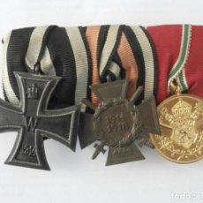 Militaria: LOTE TRES MEDALLAS ALEMANAS MONTADAS EN BARRA PASADOR I Y II GUERRA MUNDIAL CRUZ DE HIERRO III REICH. Lote 211593539