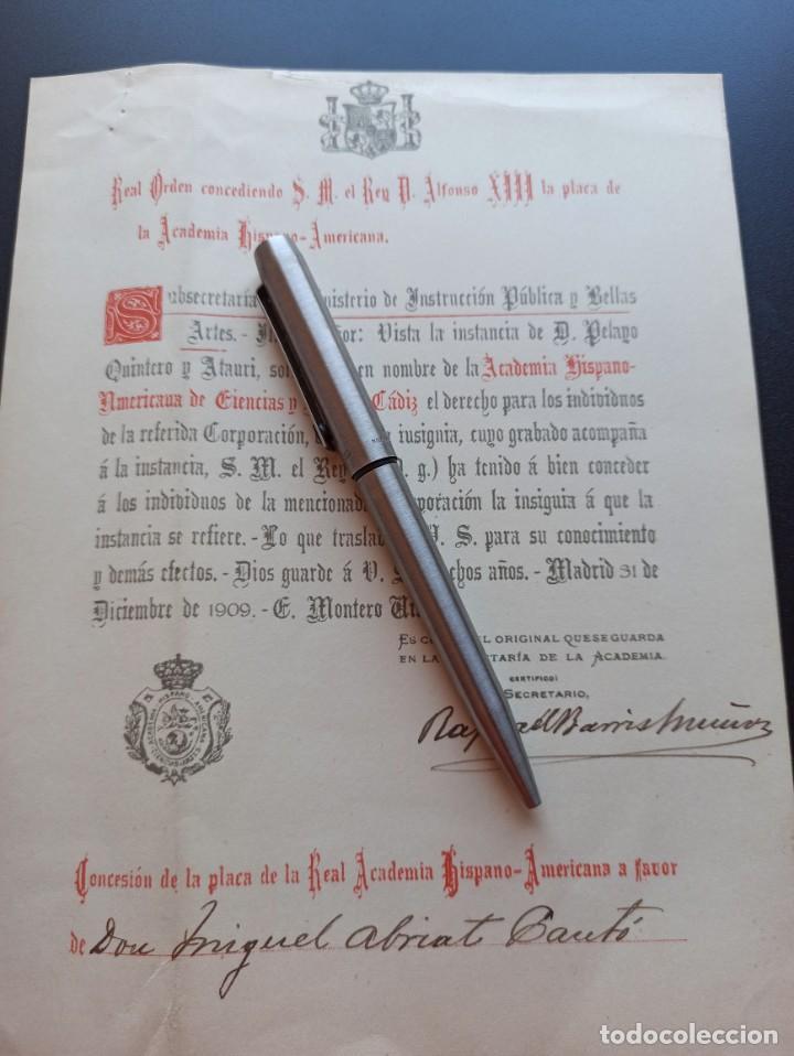 CONCESIÓN PLACA REAL ACADEMIA HISPANOAMÉRICA. 1909. MMI (Militar - Medallas Españolas Originales )