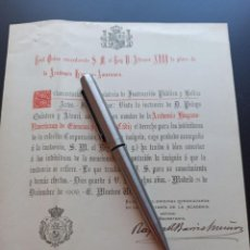 Militaria: CONCESIÓN PLACA REAL ACADEMIA HISPANOAMÉRICA. 1909. MMI. Lote 212669033