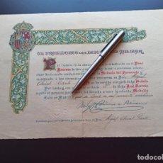 Militaria: DIPLOMA MEDALLA DEL HOMENAJE. 1925. MMI. Lote 212680203