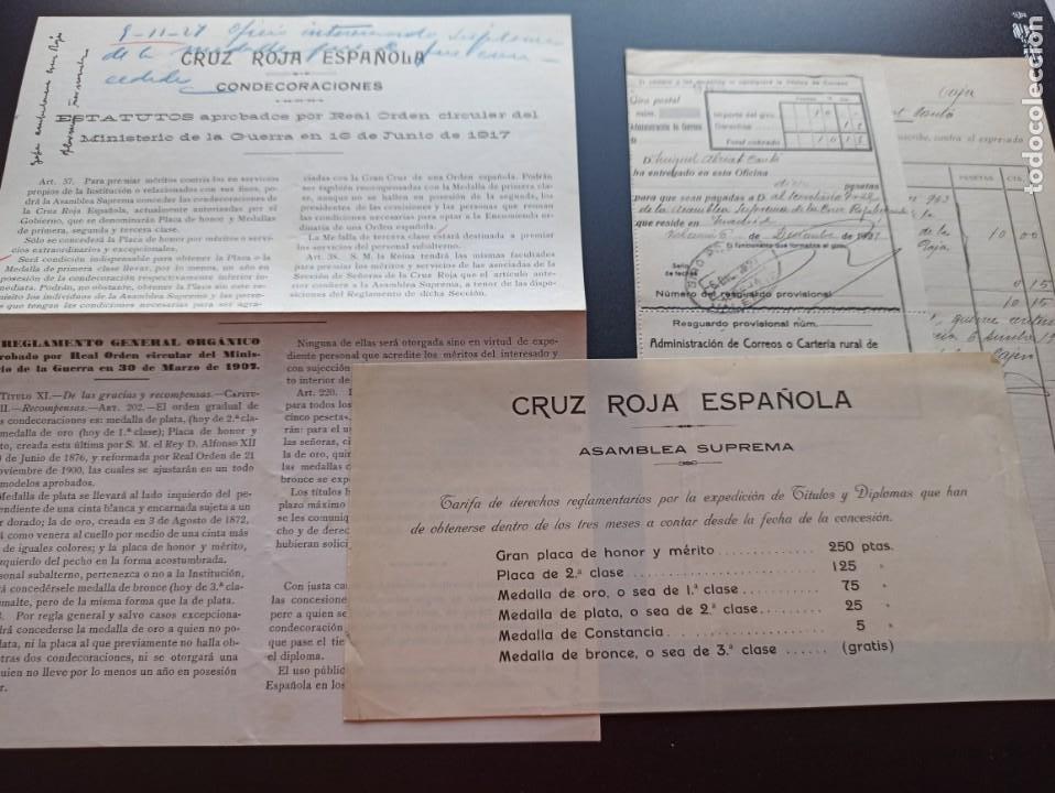 Militaria: 6 documentos medallas Cruz Roja. 1927. MMI - Foto 2 - 212744070