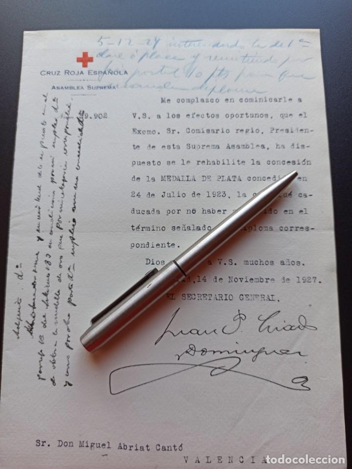 Militaria: 6 documentos medallas Cruz Roja. 1927. MMI - Foto 3 - 212744070